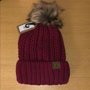 NWT Burgundy C.C Knitted Hat w/Pom.